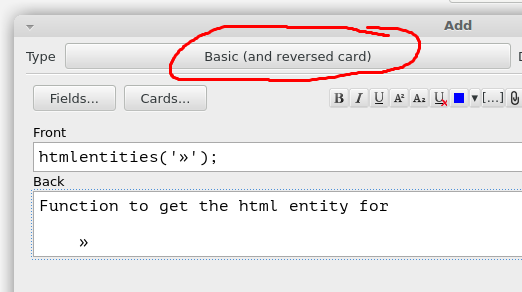 Selecting the reversed card type