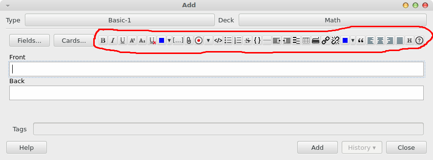 Supplementary Buttons in the Editor